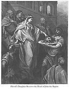 The Daughter of Herod Receiving the Head of John the Baptist [atthew 14:8-10] From the book 'Bible Gallery' Illustrated by Gustave Dore with Memoir of Dore and Descriptive Letter-press by Talbot W. Chambers D.D. Published by Cassell & Company Limited in London and simultaneously by Mame in Tours, France in 1866