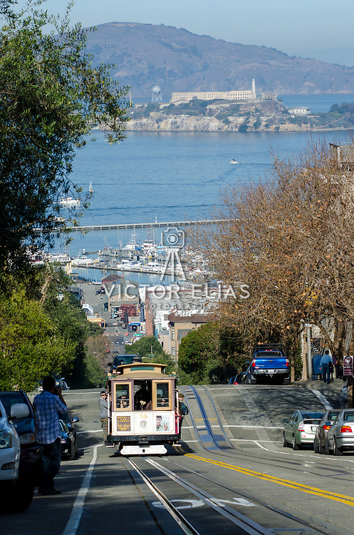 Alcatraz prison viewed from Russian Hill.