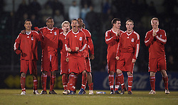 BRISTOL, ENGLAND - Thursday, January 15, 2009: Liverpool players celebrate a penalty goal by captain Joe Kennedy during the penalty shoot-out against Bristol Rovers during the FA Youth Cup match at the Memorial Stadium. L-R: Thomas Ince, Andre Wisdom, Chris Buchtmann, Nathan Eccleston, David Amoo, James Ellison, Steven Irwin and Lauri Dalla Valle. (Mandatory credit: David Rawcliffe/Propaganda)