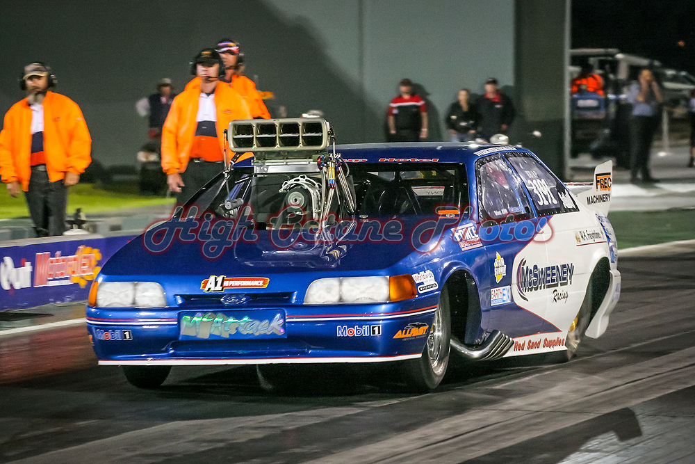 John McSweeney in the McSweeney Racing Ford Falcon Doorslammer, competing in BB/AP trim in Top Comp at the Perth Motorplex's Top Fuel Challenge in 2005.