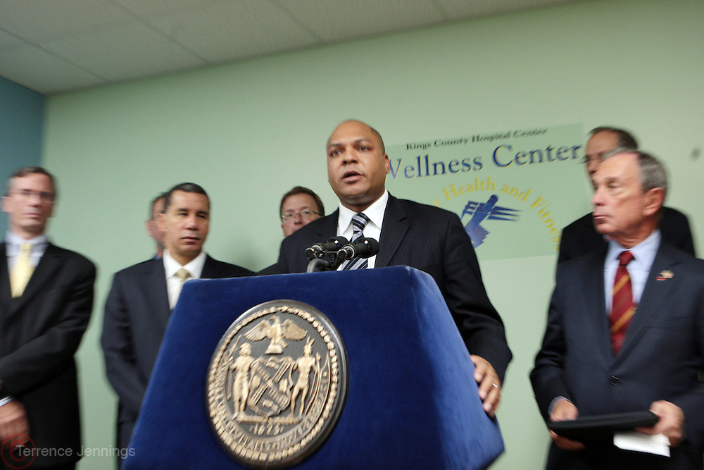 7 October 2010 - New York, NY- l to r: Governor David Paterson, Assemblyman Karim Camara and Mayor Michael Bloomberg at Press Conference for Major Announcement of Initiave to Enhance New York City's Nutrition Standards and Eliminate Empty Calories in Government Subsidized Nutrition Program on October 7, 2010 and held at Kings County Hospital in Brooklyn, NY. Photo Credit: Terrence Jennings