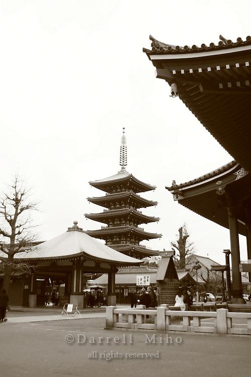 Mar 6, 2006; Tokyo, JPN; Asakusa.Gojuno-to (five storied pagoda) next to the Senso-ji Buddhist temple (right)...Photo credit:  Darrell Miho