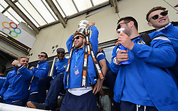 Bristol Rovers' Matt Taylor celebrates with the Vanarama Conference Play-Off Final trophy  - Photo mandatory by-line: Dougie Allward/JMP - Mobile: 07966 386802 - 25/05/2015 - SPORT - Football - Bristol - Bristol Rovers Bus Tour