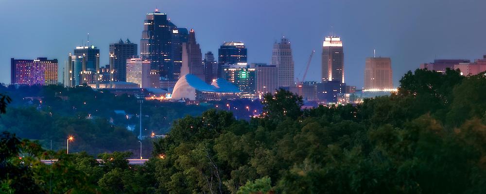 Panorama photo of downtown Kansas City, Missouri skyline, taken from Rosedale Arch in Kansas City, Kansas.