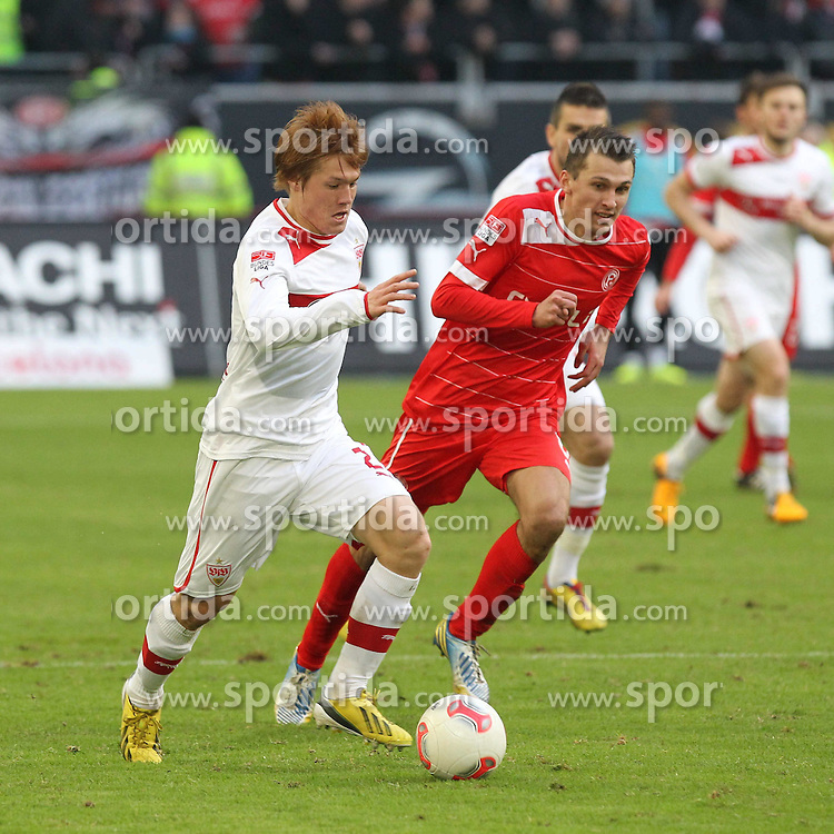 02.02.2013, Esprit Arena, Duesseldorf, GER, 1. FBL, Fortuna Duesseldorf vs VfB Stuttgart, 20. Runde, im Bild Gotoku SABAI (VfB Stuttgart) gegen Robert TESCHE (Fortuna Duesseldorf) // during the German Bundesliga 20th round match between Fortuna Duesseldorf and VfB Stuttgart at the Esprit Arena, Duesseldorf, Germany on 2013/02/02. EXPA Pictures © 2013, PhotoCredit: EXPA/ Eibner/ Schueler..***** ATTENTION - OUT OF GER *****
