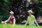 Jul 11, 2015; Lancaster, PA, USA; Chella Choi and caddie Jiyeon Choi walk away from the thirteenth tee box during the third round of the 2015 U.S. Women's Open at Lancaster Country Club.