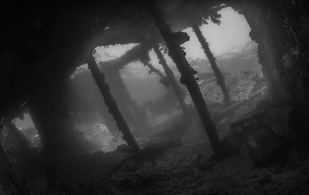 INDONESIA. Tulamben, Bali.  June 29th, 2013. A view inside the hold of the USS Liberty Shipwreck.