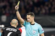 20-10-2016: Voetbal: Feyenoord v Zarja Loegansk: Rotterdam<br /> <br /> (L-R) Mykyta Kamenyuka (Zorja Luhansk) recieves yellow card from Referee Andris Treimanis during Europa League match between Feyenoord and Zorja Luhansk on 20 oktober 2016 at Stadion Feijenoord (de Kuip), Rotterdam, Zuid-Holland<br /> <br /> Europa League - Season 2016 / 2017<br /> <br /> Photo: Gertjan Kooij