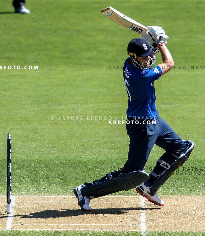 Joe Root batting during the 2015 ICC Cricket World Cup Pool A group match between England Vs Sri Lanka at the Wellington Regional Stadium, Wellington, New Zealand.