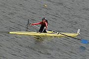 "Seville. SPAIN, 17.02.2007, TUN LW1X Rihab OUERGHI, clears the ""Puente de la Barqueta"" [bridge] during Saturdays heats, of the FISA Team Cup, held on the River Guadalquiver course. [Photo Peter Spurrier/Intersport Images]    [Mandatory Credit, Peter Spurier/ Intersport Images]. , Rowing Course: Rio Guadalquiver Rowing Course, Seville, SPAIN,"