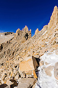 Near the summit on the Mount Whitney trail, Sequoia National Park, Sierra Nevada Mountains, California USA