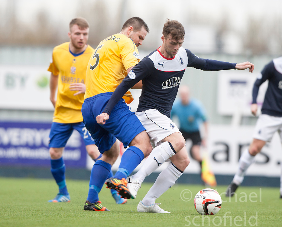 Cowdenbeath's John Armstrong and Falkirk's Rory Loy.<br /> half time : Falkirk 3 v 0 Cowdenbeath, Scottish Championship game played today at The Falkirk Stadium.<br /> &copy; Michael Schofield.
