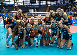 02-08-2019 ITA: FIVB Tokyo Volleyball Qualification 2019 / Belgium - Netherlands, Catania<br /> 1e match pool F in hall Pala Catania between Belgium - Netherlands / Team Netherlands celebrate the 3-0 win