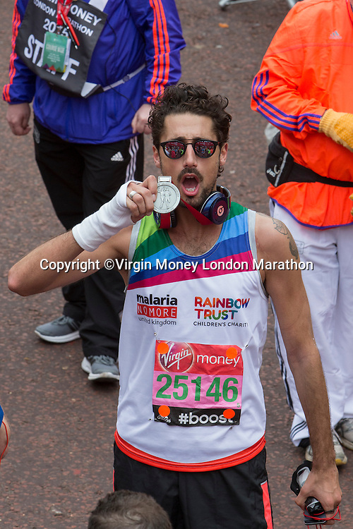 Hugo Taylor from Made in Chelsea after finishing the Virgin Money London Marathon, Sunday 26th April 2015.<br /> <br /> Dillon Bryden for Virgin Money London Marathon<br /> <br /> For more information please contact Penny Dain at pennyd@london-marathon.co.uk