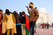 Visitors early in the morning at the Taj Mahal