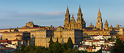 Roman Catholic cathedral, Catedral de Santiago de Compostela, and cityscape from Alameda Park, Galicia, Northern Spain