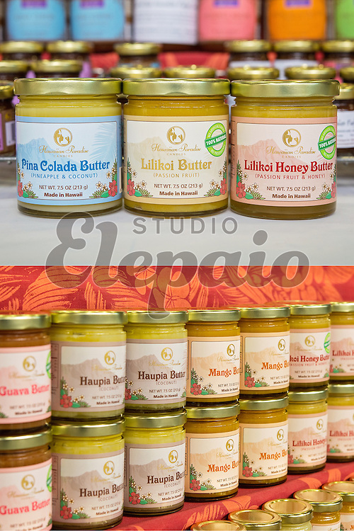 Label design for Hawaiian Paradise Candies in Honolulu, Hawaii. There are six different kinds of butter such as lilikoi butter and haupia butter.