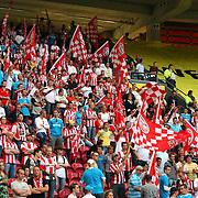 NLD/Amsterdam/20070811 - 12de Johan Cruijff Schaal, Ajax - PSV, PSV supporters op de tribune met vlaggen
