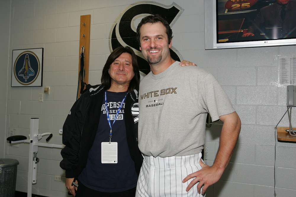 CHICAGO - OCTOBER 22:  Steve Perry, former lead singer of the rock band  Journey, meets members of the Chicago White Sox at U.S. Cellular Field on October 22, 2005 in Chicago, Illinois prior to Game1 of the 2005 World Series between the Houston Astros and the Chicago White Sox.