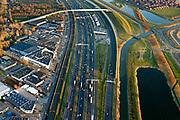 Nederland, Zuid-Holland, Charlois, 07-02-2018; A15 met geluidsscherm ter hoogte van verzorgingsplaats Rhoon.<br /> A15 with noise barrier.<br /> <br /> luchtfoto (toeslag op standard tarieven);<br /> aerial photo (additional fee required);<br /> copyright foto/photo Siebe Swart