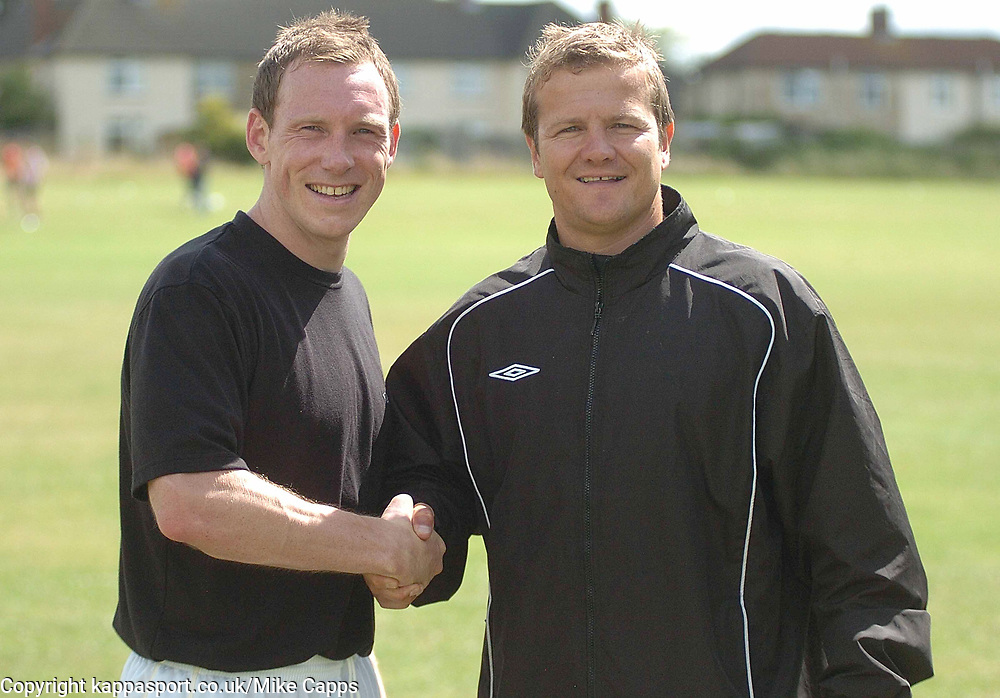 MARK COOPER MANAGER KETTERING TOWN WITH NEW SIGNING DARREN WRACK,  Kettering Town First Day Back Training 5th July 2008Kettering Town First Day Back Training 5th July 2008
