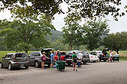 Go Green volunteers, students, and families filled up carts that allowed for an easier move in to residence halls on Friday, August 19, 2016. ©Ohio University / Photo by Kaitlin Owens