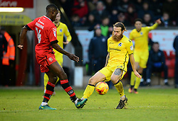 Stuart Sinclair of Bristol Rovers closes down Isaiah Osbourne of Walsall - Mandatory by-line: Alex James/JMP - 21/01/2017 - FOOTBALL - Banks's Stadium - Walsall, England - Walsall v Bristol Rovers - Sky Bet League One