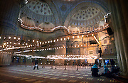 ISTANBUL, TURKEY - NOVEMBER 24, 2003: Interior  of the Blue Mosque.