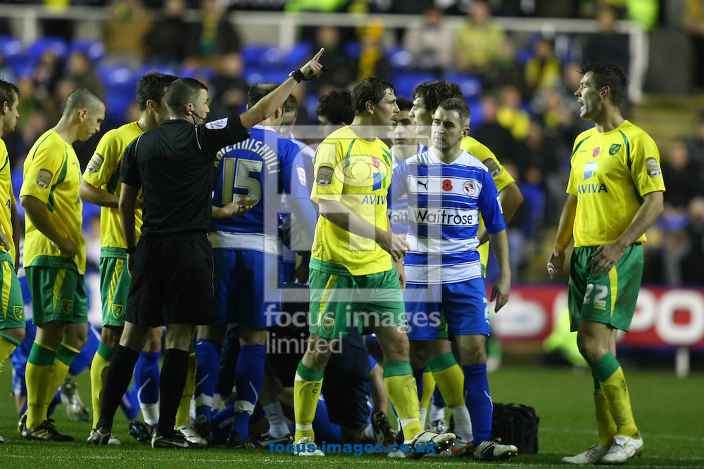 Reading - Saturday November 13th, 2010: Grant Holt gets sent off during the Npower Championship match at The Madejski Stadium, Reading. (Pic by Paul Chesterton/Focus Images)