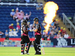 Mahela Jayawardene  and Jim Allenby of Somerset touch gloves. - Mandatory by-line: Alex Davidson/JMP - 22/07/2016 - CRICKET - Th SSE Swalec Stadium - Cardiff, United Kingdom - Glamorgan v Somerset - NatWest T20 Blast