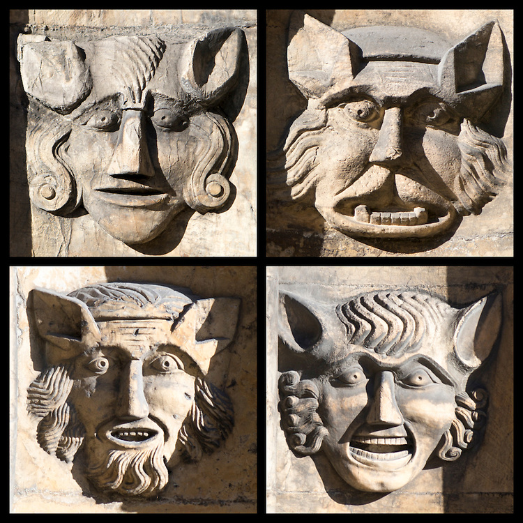 Face details on the 15th century porch at St. Mary, Beverley, Yorkshire UK