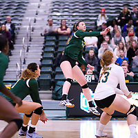 1st year outside hitter Jessica Lerminiaux (12) of the Regina Cougars in action during Women's Volleyball home game on November 18 at Centre for Kinesiology, Health and Sport. Credit: Arthur Ward/Arthur Images