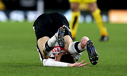 Julien de Sart of Derby County falls over in a crumpled heap - Mandatory by-line: Robbie Stephenson/JMP - 21/02/2017 - FOOTBALL - iPro Stadium - Derby, England - Derby County v Burton Albion - Sky Bet Championship