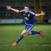 Sam Walker (Halifax) celebrates his goal and Halifax's equaliser during the Conference Premier League match between FC Halifax Town and Guiseley at the Shay, Halifax, United Kingdom on 5 December 2015. Photo by Mark P Doherty.