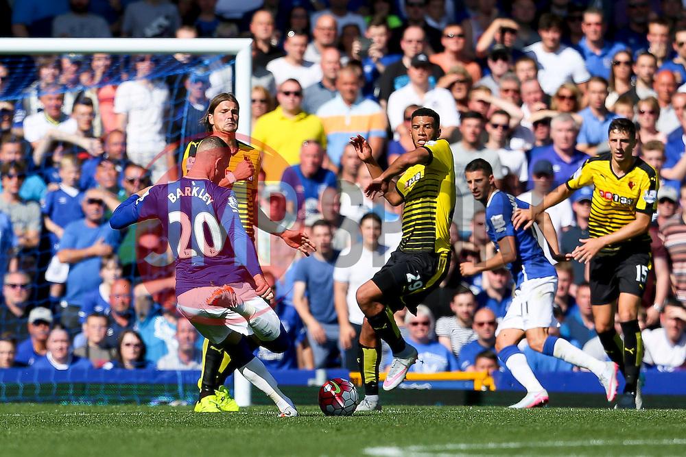 Everton's Ross Barkley scores the opening goal to make it 1-1 - Mandatory byline: Matt McNulty/JMP - 07966386802 - 08/08/2015 - FOOTBALL - Goodison Park -Liverpool,England - Everton v Watford - Barclays Premier League