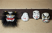 Photo shows a selection of Iwami-Kagura masks created by Briton Jake Davies at his home in Sakurae Village, Shimane Prefecture, Japan on 28 June 2011. Pictured from l to r are the Japanese Ogre, Otafuku (which rarely appears in Iwami-Kagura), Jinmen and Tajikarao..Photographer: Robert Gilhooly