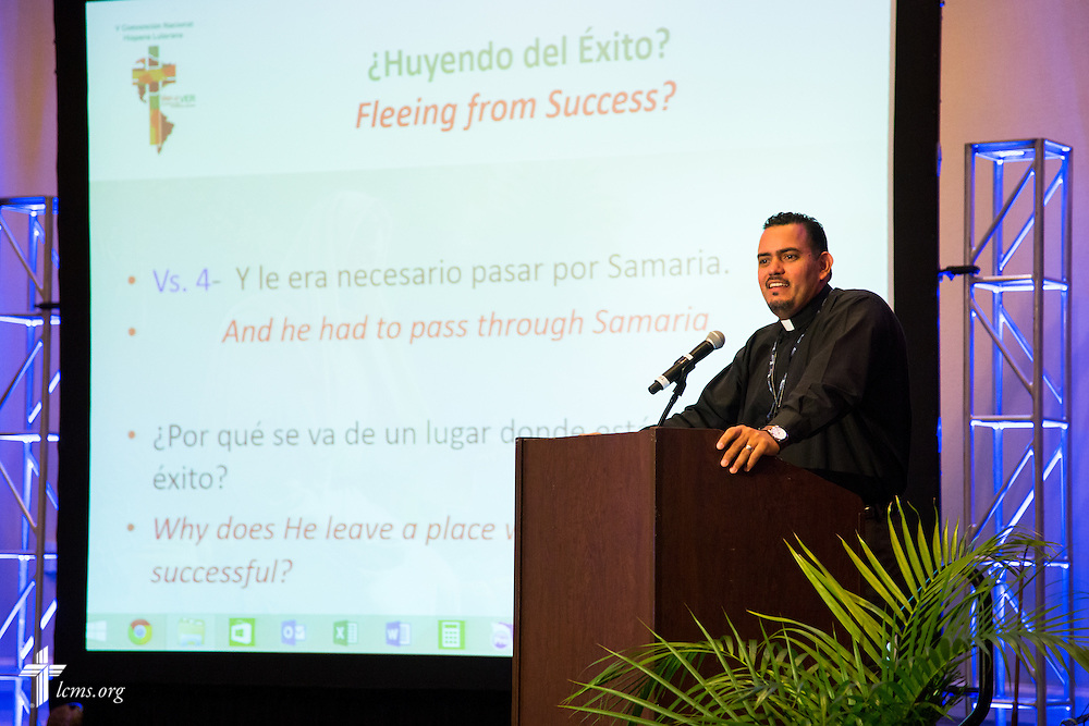 "The Rev. Lincon Guerra, pastor of Shepherd of the Valley Lutheran Church in West Des Moines, Iowa., speaks during the 5th Hispanic National Convention, ""¡Come and See!: Celebrating Our Gifts,"" on Thursday, July 30, 2015, at the Grand Hyatt Tampa Bay in Tampa, Fla. LCMS Communications/Pamela Nielsen"