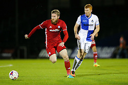 Aron Gunnarsson of Cardiff City is challenged by Rory Gaffney of Bristol Rovers - Rogan Thomson/JMP - 11/08/2017 - FOOTBALL - Memorial Stadium - Bristol, England - Bristol Rovers v Cardiff City - EFL Cup First Round.