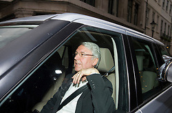 © licensed to London News Pictures.  12/07/2011 . London, UK. Les Hinton Chief Executive Officer, Dow Jones & Company leaving Rupert Murdoch's property in Mayfair, London today (12/07/2011). Hinton, who has been implicated in the phone hacking scandal,  was the executive chairman of the embattled News International, the corporate umbrella of News of the World, before taking the position at News Corp-owned Dow Jones. Photo credit : Ben Cawthra/LNP