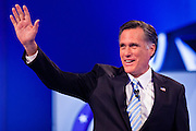 "22 FEBRUARY 2012 - MESA, AZ:   Governor MITT ROMNEY waves to the crowd at the Arizona Republican Presidential Debate in the Mesa Arts Center in Mesa, AZ, Wednesday. It is the last debate before the Michigan and Arizona Republican primaries on Feb. 28 and ""Super Tuesday"" on March 6.         PHOTO BY JACK KURTZ"