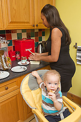 Mother and toddler in kitchen. (This photo has extra clearance covering Homelessness, Mental Health Issues, Bullying, Education and Exclusion, as well as the usual clearance for Fostering & Adoption and general Social Services contexts,)]