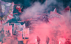 04.03.2018, Red Bull Arena, Salzburg, AUT, 1. FBL, FC Red Bull Salzburg vs SK Rapid Wien, 25. Runde, im Bild Salzburger Fansektor mit Fahnen und bengalischen Fackeln // during Austrian Football Bundesliga 25th round Match between FC Red Bull Salzburg and SK Rapid Wien at the Red Bull Arena, Salzburg, Austria on 2018/03/04. EXPA Pictures © 2018, PhotoCredit: EXPA/ JFK
