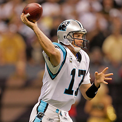 Nov 08, 2009; New Orleans, LA, USA;  Carolina Panthers quarterback Jake Delhomme (17) throws a pass in the first quarter against the New Orleans Saints at the Louisiana Superdome. Mandatory Credit: Derick E. Hingle