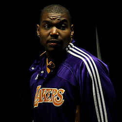 April 24, 2011; New Orleans, LA, USA; Los Angeles Lakers center Andrew Bynum (17) in the tunnel before tip off of game four of the first round of the 2011 NBA playoffs against the New Orleans Hornets at the New Orleans Arena.    Mandatory Credit: Derick E. Hingle