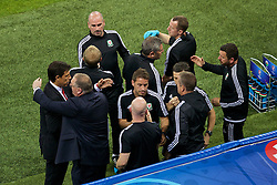 LYON, FRANCE - Wednesday, July 6, 2016: The Wales backroom staff and manager Chris Coleman all shake hands after the UEFA Euro 2016 Championship Semi-Final match against Portugal at the Stade de Lyon. (Pic by Paul Greenwood/Propaganda)