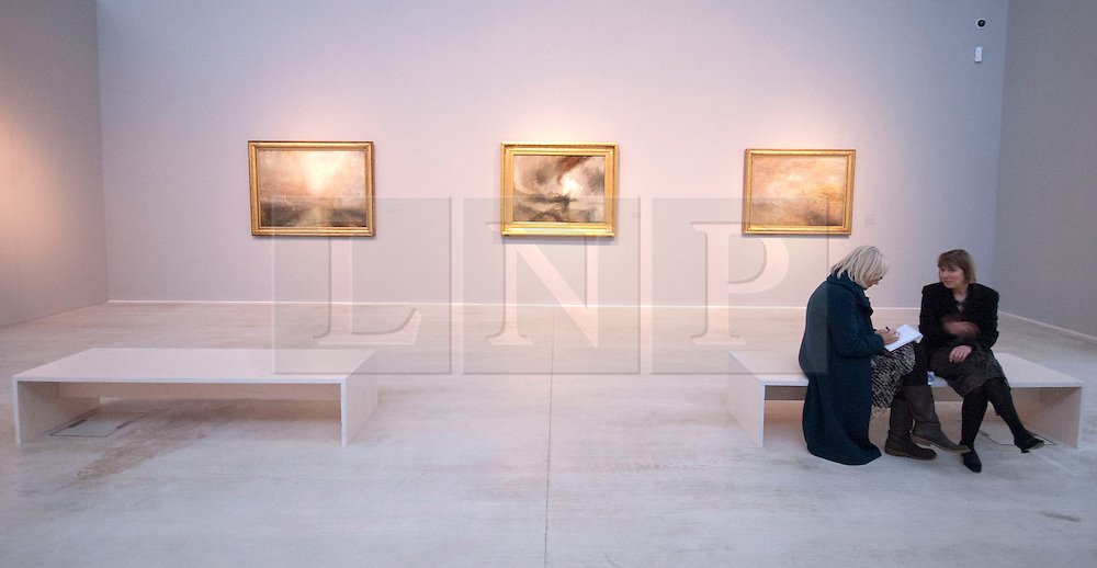 """© London News Pictures. 27/01/2012. Margate, Kent. Photocall for """"Turner and the Elements"""" showing at the Turner Contemporary in Margate, Kent.  It brings together 88 works by Britain's  JMW Turner. A number of works feature Margate and the north Kent coast based on the artists theme of the elements, Earth, Water, Air, Fire and Fusion. Photo credit should read Manu Paomeque/LNP"""