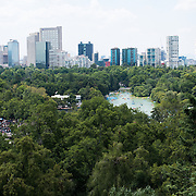 Overlooking Bosque de Chapultepec (Chapultepec Forest) and Mexico City from Chapultepec Castle. Since construction first started around 1785, Chapultepec Castle has been a Military Academy, Imperial residence, Presidential home, observatory, and is now Mexico's National History Museum (Museo Nacional de Historia). It sits on top of Chapultepec Hill in the heart of Mexico City.