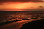 A beautiful sunset on Waikiki Beach.