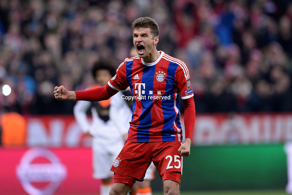 11.03.2015. Allianz Stadium, Munich, Germany. UEFA Champions League football. Bayern Munich versus Shakhtar Donetsk. Thomas Muller (FC Bayern Munchen) celebrates his goal for 1-0