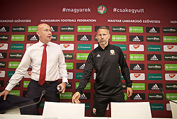 BUDAPEST, HUNGARY - Monday, June 10, 2019: Wales' manager Ryan Giggs (R) and head of public affairs Ian Gwyn Hughes arrive before a press conference ahead of the UEFA Euro 2020 Qualifying Group E match between Hungary and Wales at the Ferencváros Stadion. (Pic by David Rawcliffe/Propaganda)